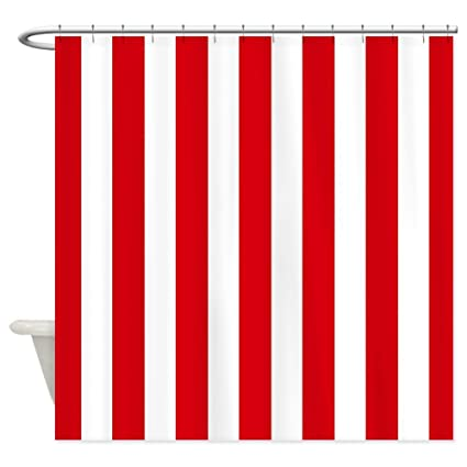 CafePress Red And White Vertical Stripes Shower Curtain
