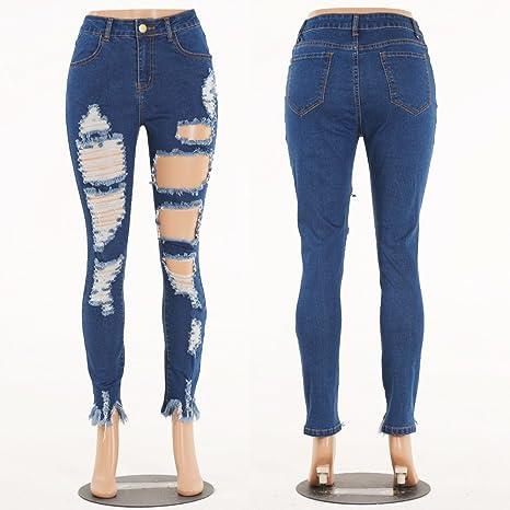 NanNan Pantalones De Mujer Ripped Slim Jeans Moda Mujer ...