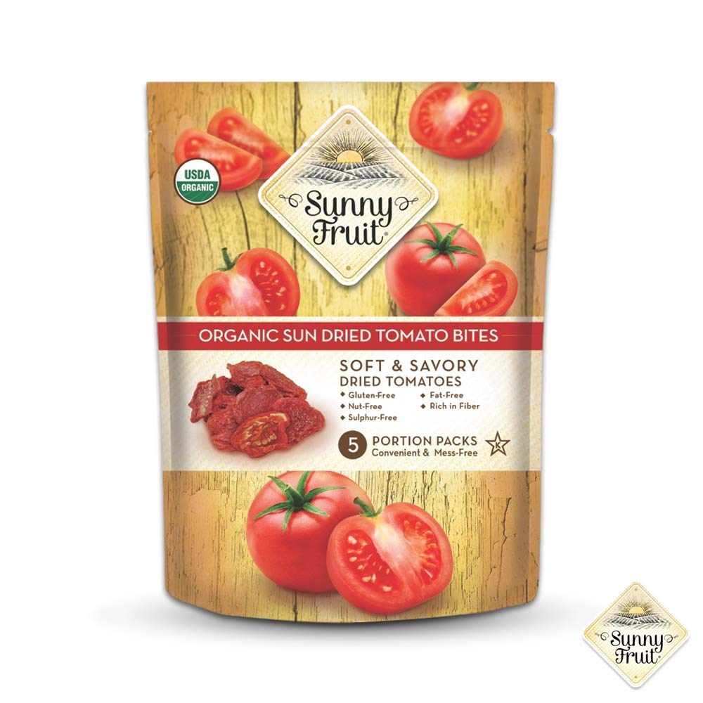 ORGANIC Sundried Tomatoes - Sunny Fruit - (5) 1.06oz Portion Packs per Bag | Purely Tomatoes - NO Added Sugars, Sulfurs or Preservatives | NON-GMO, VEGAN & HALAL (Pack of 1) by SUNNY FRUIT