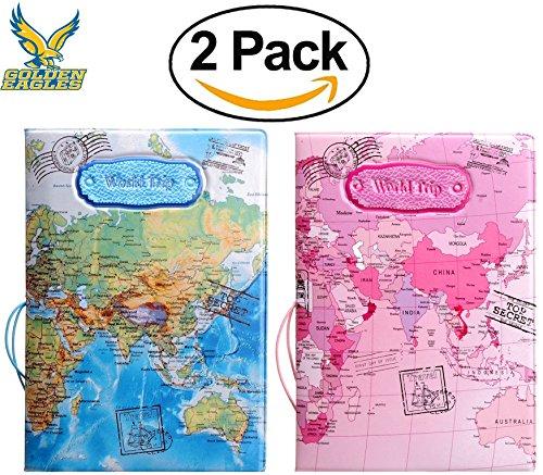 Set of 2 Leather Passport Holder,Passport Cove,Passport Case for Men&Women&Kids by World Trip Passport Covers