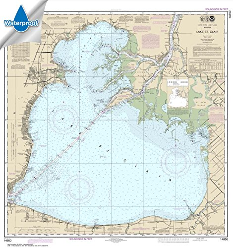NOAA Chart 14850: Lake St. Clair 34.8 x 32.8 (WATERPROOF) by Paradise Cay Publications