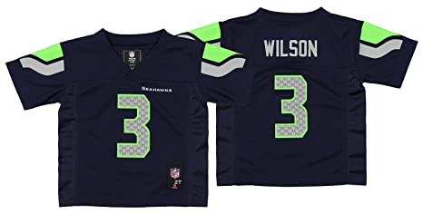 d0c43a41b Outerstuff Russell Wilson Seattle Seahawks Toddler Blue Name and Number  Jersey - 2T