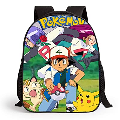 Pokemon Mochila para niños, Adolescentes y niñas 3D Cartoon Pikachu School Bags Mujer Funny Pokeball Mochilas Hombre Pokemon Go Travel Rucksacks Bookbags Adulto Bolsa de Hombro Daypack Merchandise: Equipaje