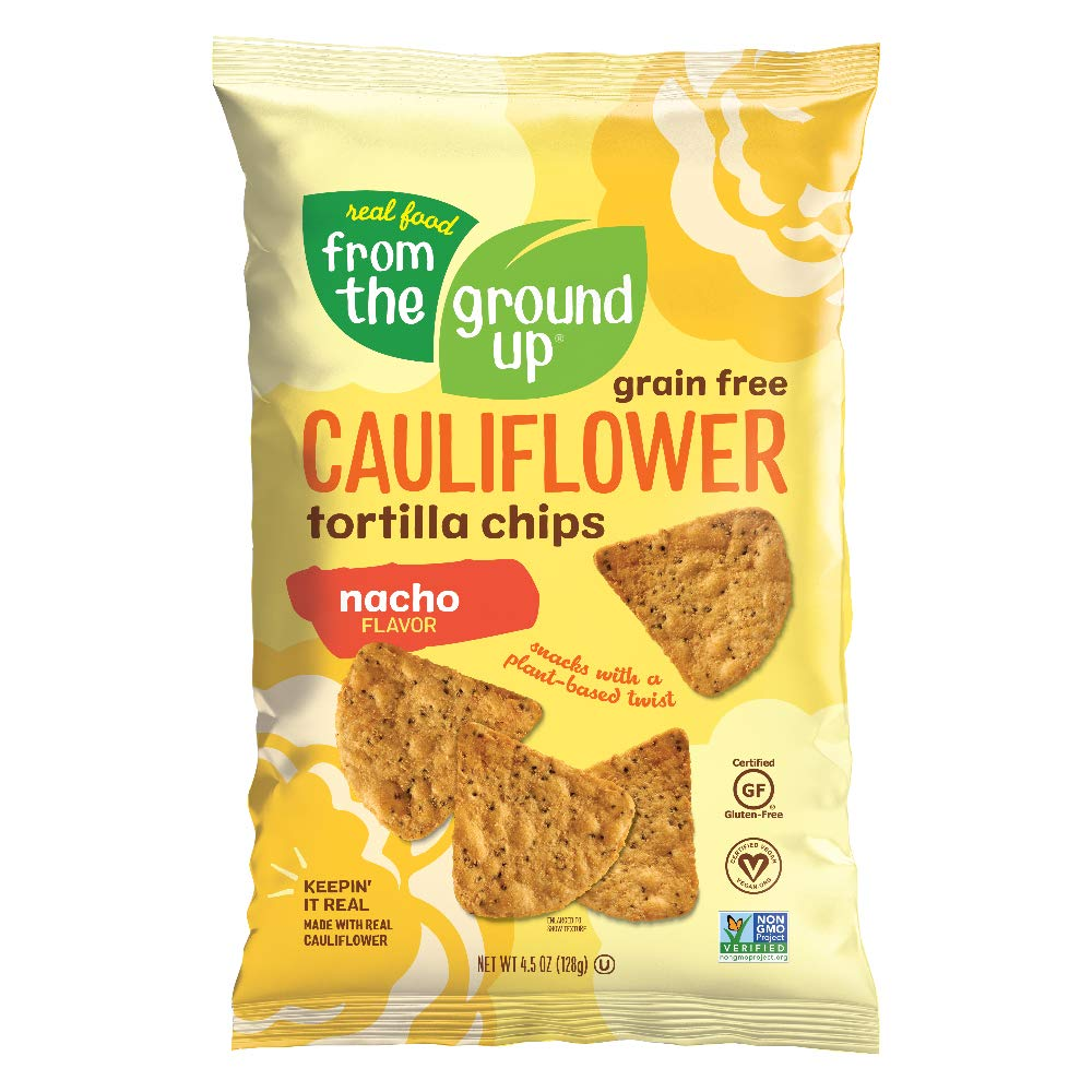 REAL FOOD FROM THE GROUND UP Cauliflower Tortilla Chips - 6Count, 4.5 Oz Bags (Nacho), Yellow