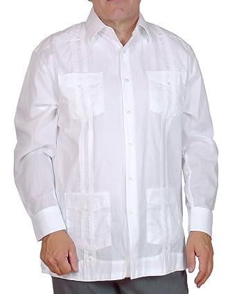 c361cf3974c Squish Havana Cuban Style Guayabera Shirt - Long Sleeve   White - XL ...