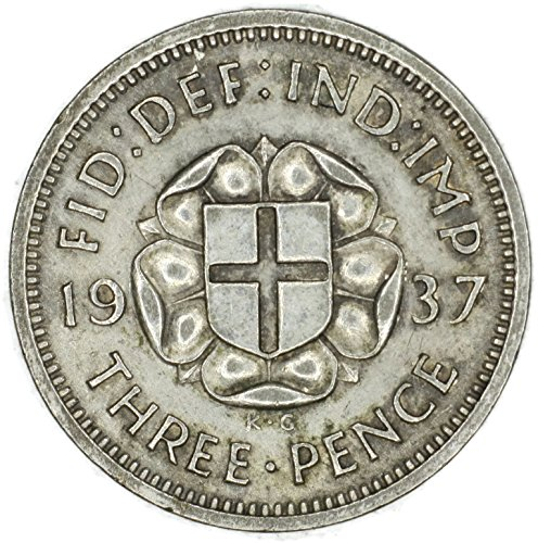 1937 UK George VI British Silver Threepence Good