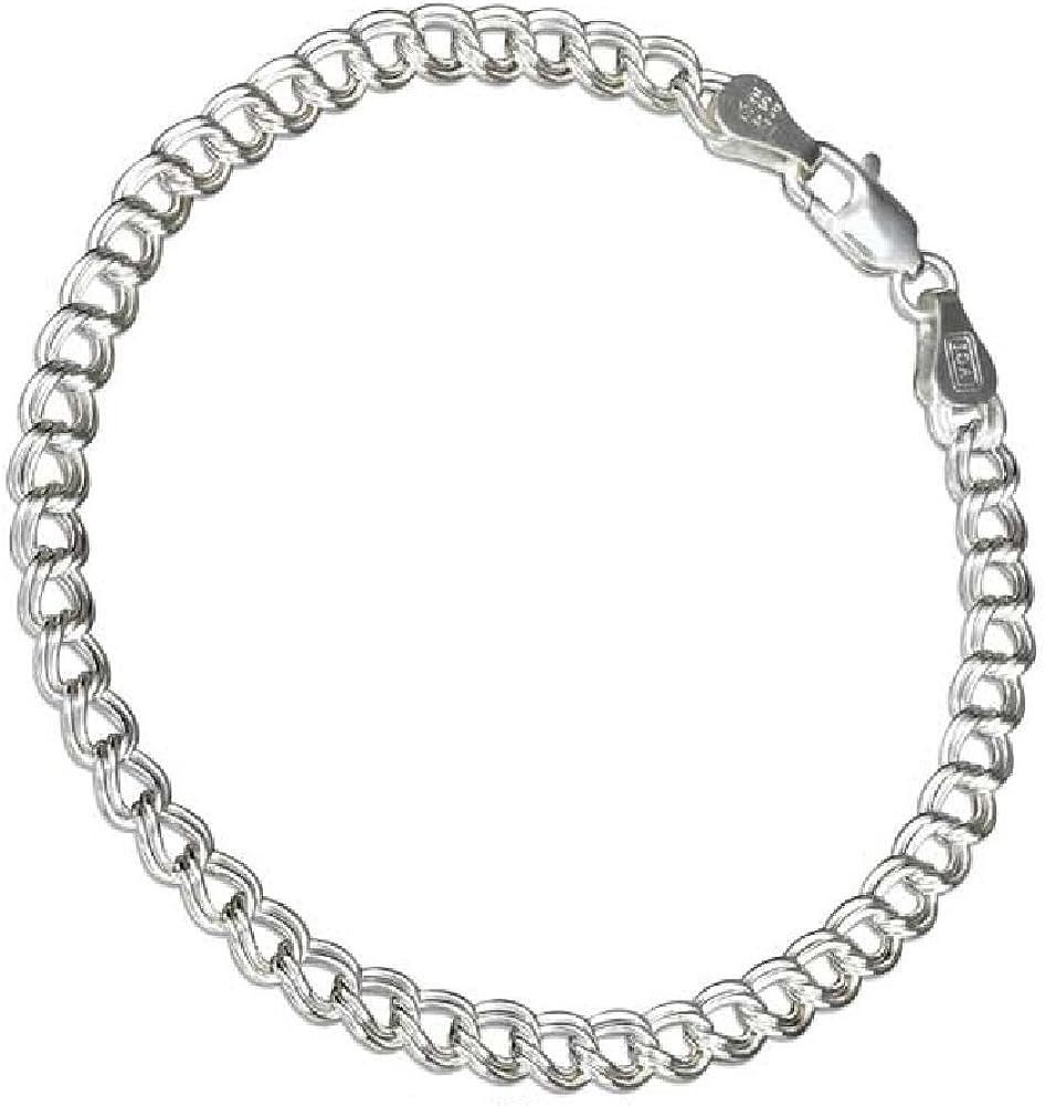 Sterling Silver Charm Bracelet Attached 3D Crystal Bling Flip Flop Sandal Shoe Charm