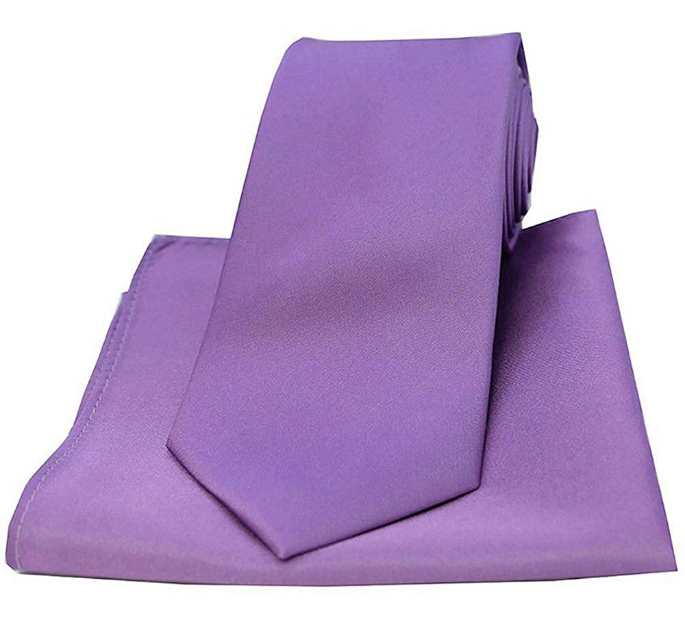 David Van Hagen Mens Satin Tie and Pocket Square Set Lilac