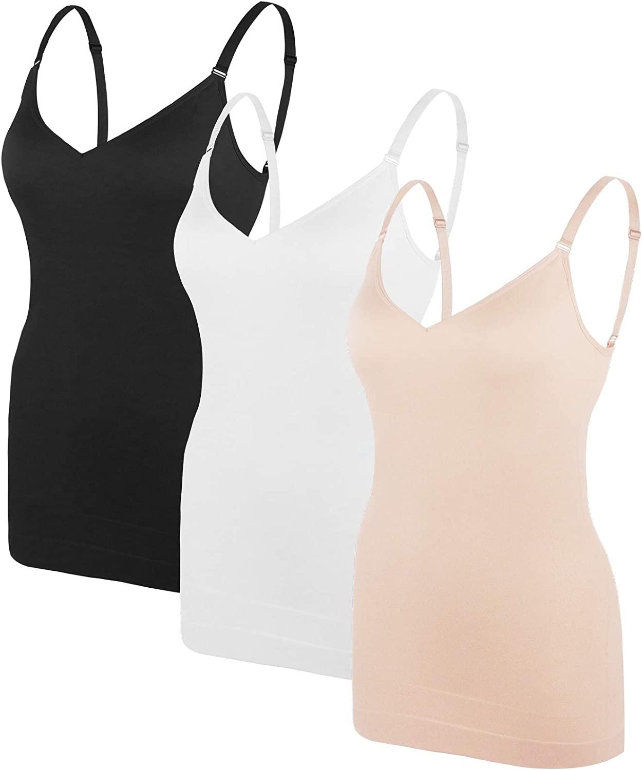 Women's Tummy Control Shaprwear Camisoles Seamless Compression Tops 3 Pack