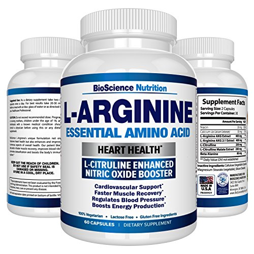Premium L Arginine - 1340mg Nitric Oxide Booster with L-Citrulline & Essential Amino Acids for Heart and Muscle Gain | NO Boost Supplement for Endurance and Energy | 60 Capsules