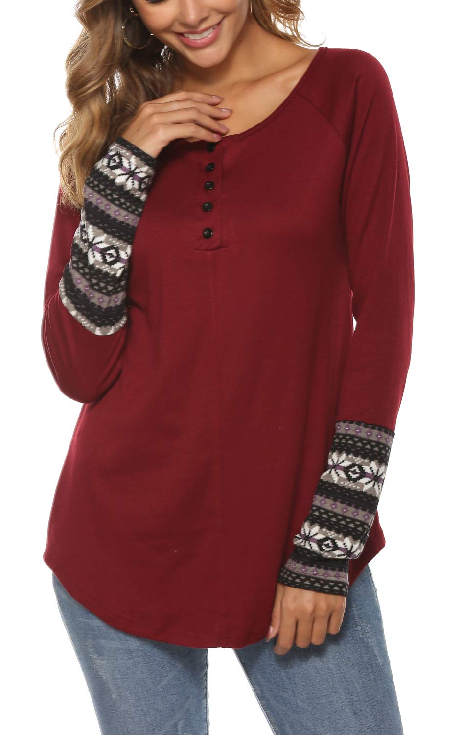 Newchoice Long Sleeve T Shirt Women,Button Up Geometric Patchwork Henley Tunic Tops (L,Wine Red)