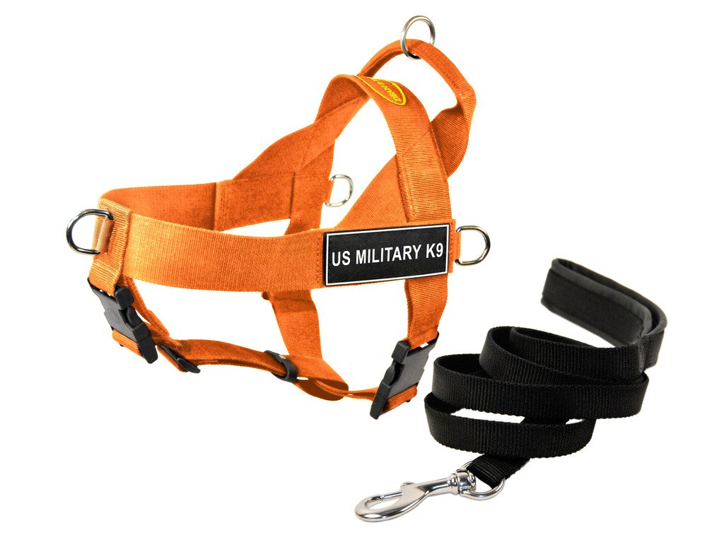 Dean & Tyler DT Universal No Pull Dog Harness with Us Military K9  Patches and Puppy Leash, orange, X-Small
