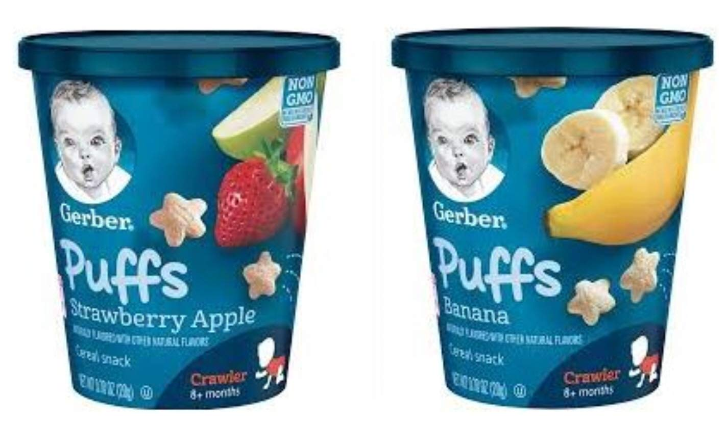 (Pack of 32) Gerber Puffs Baby Cereal Baby Snack 0.7oz Assorted Flavors
