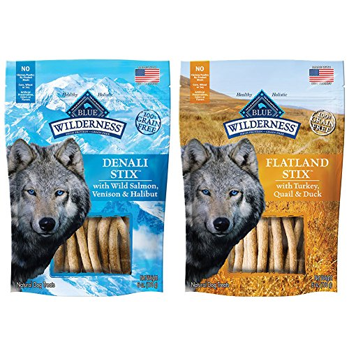 Blue Buffalo Salmon Dinner (BLUE BUFFALO Dog Wilderness Stix Grain Free Soft-Moist Dog Treats Variety Pack - 6 Ounce - Denali Stix and Flatland Feast Stix (2 Pack))