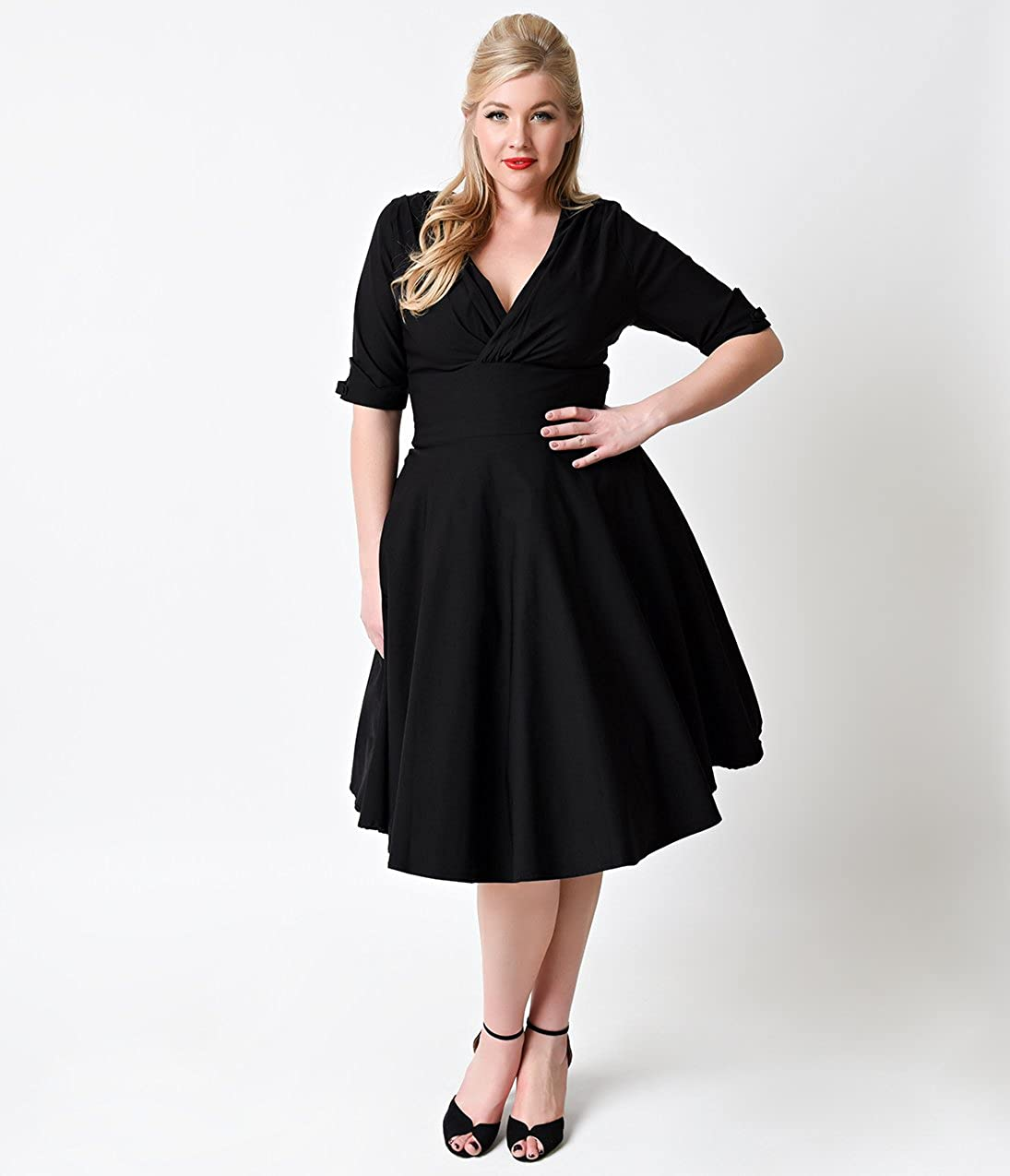 8c85a3eead5c ... Unique Vintage Plus Size 1950s Black Delores Swing Dress with Sleeves  96462 ...