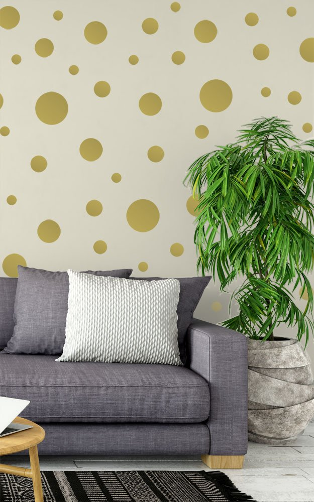 Create-A-Mural Polka Dot Wall Stickers, Wall Decor Stickers, Wall Dots, Vinyl Circle Room Dot Decals (Gold) 6090938
