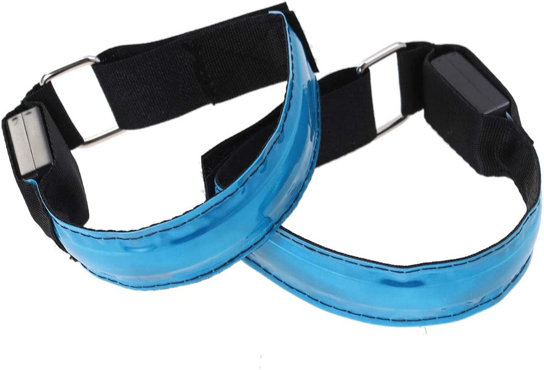 LIOOBO Braccialetto Riflettente 4pcs LED Braccialetti per Correre Jogging Dog Walking Alpinismo (Verde) Blu