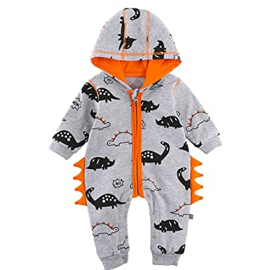 kaiCran Baby Layette Set Infant Baby Boy Girl Dinosaur Zipper Hooded Romper Jumpsuit Outfits Clothes 0