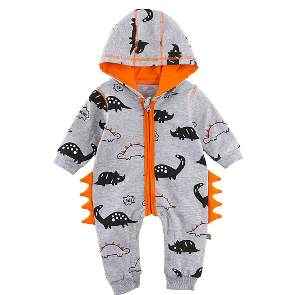 HLHN Baby Girls Boys Romper Hooded Dinosaur Jumpsuit Outfits Newborn Infant Pyjamas Winter Zip Warm