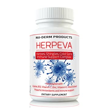 Herpeva Best Virus Shingles Cold Sores Anti Virus Supplements Clinical  Strength Relief L-lysine