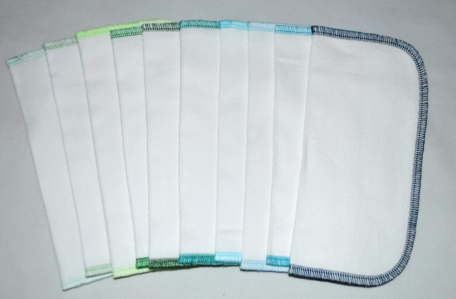 2 Ply 8x8 Inches White Cotton Birdseye Little Wipes Set of 10 Assorted Blues and Greens 61MIvO5guoL