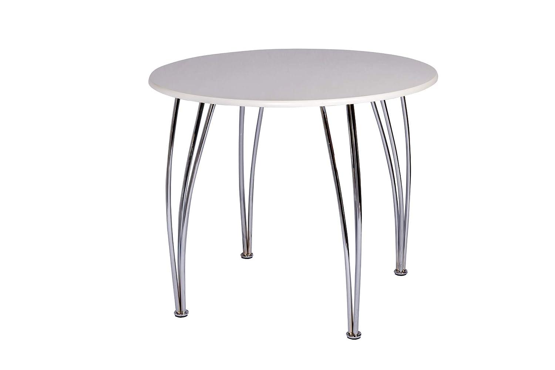 ASPECT Blanc Salle à Manger Ronde 4Places Style Arne Jacobsen Dessus de Table en Bois Rond en Bois avec Pieds chromés HOME SOLUTIONS WDT05W