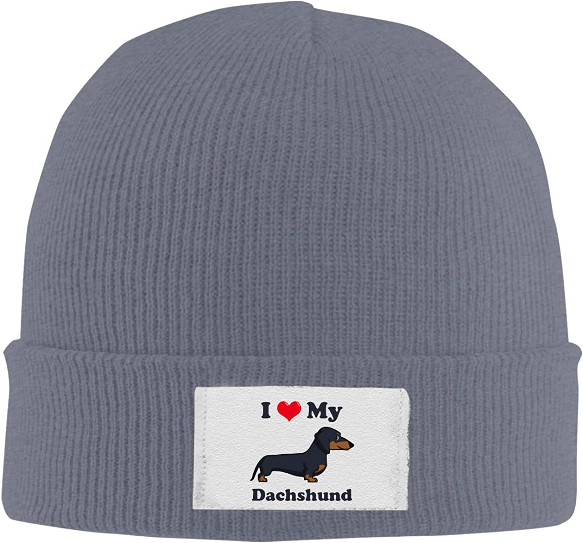 Skull Caps I Love My Dachshund Winter Warm Knit Hats Stretchy Cuff Beanie Hat Black