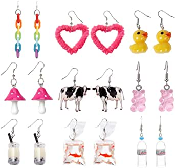 Cute Y2k Earring Set Cool Funny Weird Creative Quirky Rainbow Indie Aesthetic Goldfish Duck Cow Mushroom Earrings for Girls Women