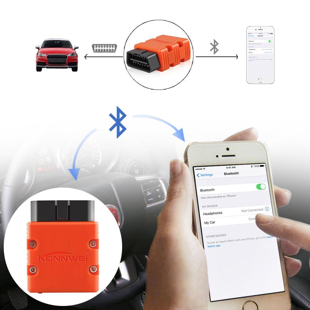 accessorio diagnostico Bluetooth OBDII dispositivo diagnostico Konnwei Android supporto per tutti i protocolli OBD2... lettore di codice per auto ELM327/OBD2,/V1.5,/scanner per auto