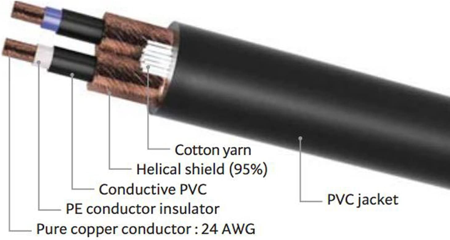 """Noiseless LyxPro /¼/"""" TRS to /¼/"""" TRS Balanced Cable 10 feet Male to Male Heavy Duty and Flexible Crystal Clear"""