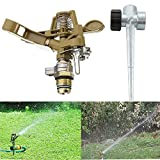 Lawn Irrigation Systems Lawn Sprinkler Head with Spike,Metal Pulsating Sprinklers,Adjustable Garden,Yard Watering Irrigation System - CONNECT MULTIPLE SPRINKLERS