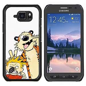 TECHCASE---Cubierta de la caja de protección para la piel dura ** Samsung Galaxy S6 Active G890A ** --Tiger Y Muchacho