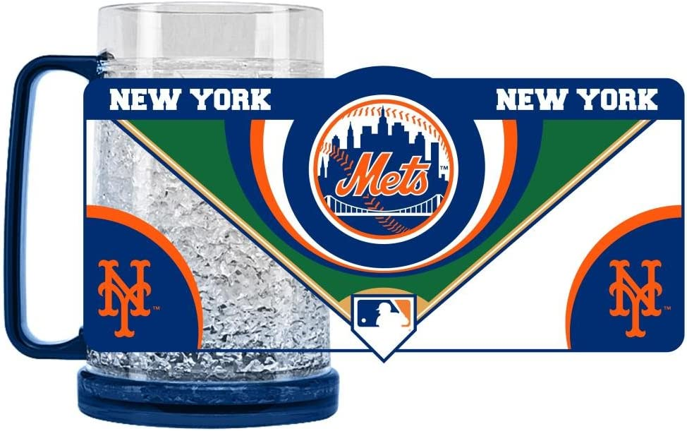 Duck House 1 Pc, New York Mets Mug Crystal Freezer Style, 16oz, Eye Catching Crystals, State-Of-The-Art Refreezability With Color Coordinated Handle & Base