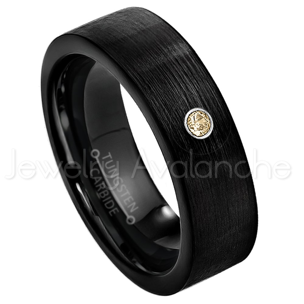 7mm Brushed Finish Black IP Comfort Fit Pipe Cut Tungsten Wedding Band November Birthstone Ring 0.07ct Smokey Quartz Solitaire Ring