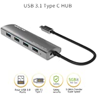 Wavlink USB C 3.1 to USB 3.0 Series 4-Port USB Hub Bus Aluminum Body USB 3.1 Type C Interface External USB Extension for MacBook Nokia N1 Chrome Ultrabook or Other USB C Devices- Gray