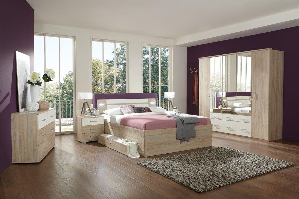 3-tlg. Schlafzimmer in Eiche sägerau-Nachb. mit alpinweiß, Spiegelschrank B: 225 cm, Bett 180 x 200 cm mit Schubkästen, 2 Nachtschränke B: 52 cm