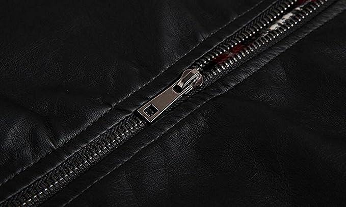 631191fbb50f KEBINAI Men's Simple Design Stand Collar PU Leather Motor Jacket ...