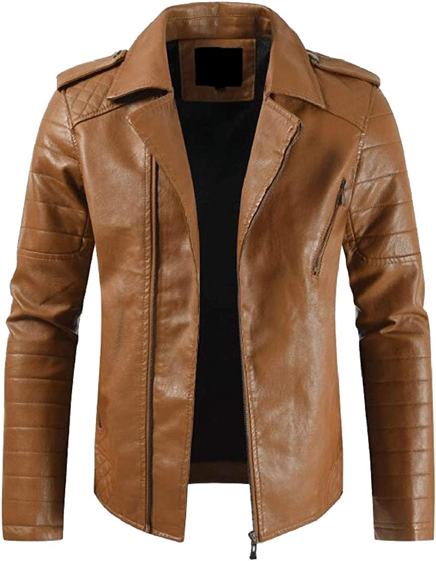 XQS Mens Casual Slim Thicken Moto Motocycle Faux PU Leather Jacket