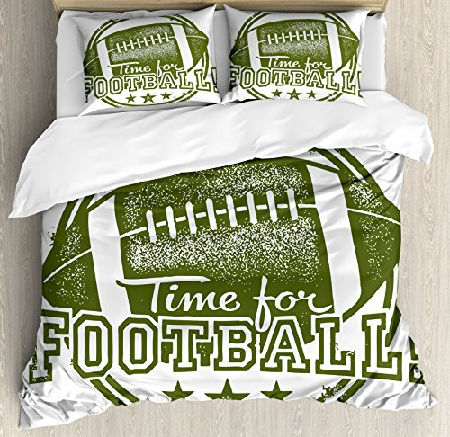 Lunarable Boy's Room Duvet Cover Set Queen Size, Vintage Old Grunge Rubber Stamp with Time for Football Quote and Stars, Decorative 3 Piece Bedding Set with 2 Pillow Shams, Olive ()