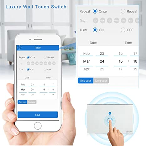 Sonoff Touch Smart Wi-Fi Wall Switch Compatible with Alexa, Phone Remote Control Light Switch Timer for Android iOS US Standard - - Amazon.com