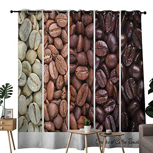 Light 1 Java Collection Roasted (Thermal Insulated Blackout Curtain Coffee,Vertical Banner Stages of Beans from Raw to Roasted Java Processing Addictive,Ivory Brown White ,Blackout Draperies For Bedroom Living Room 52