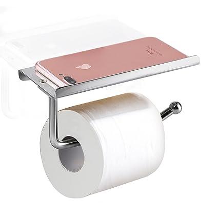 E PRANCE Toilet Paper Holder With Shelf   Heavy Duty Bathroom Tissue Holder  Toilet Roll