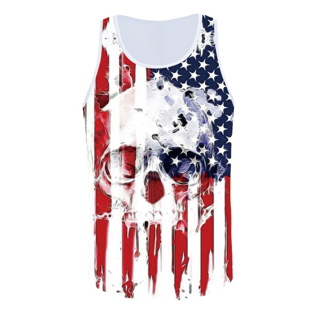 Respctful✿Men's Tank Top USA American Flag Casual Sleeveless Tee Shirt Vintage 4th July Patriotic American Party Tanks White by Respctful Men's Clothing (Image #5)
