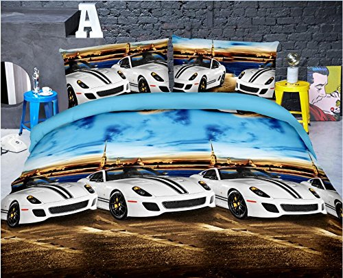 HIG Vivid 3D Bed Sheet Set Super Cars at Seaside Under Blue Sky Scenery Print in Queen King Size - Wrinkle Free, Fade Resistant, Ultra Soft (Queen, CARBYSEA-Y47)