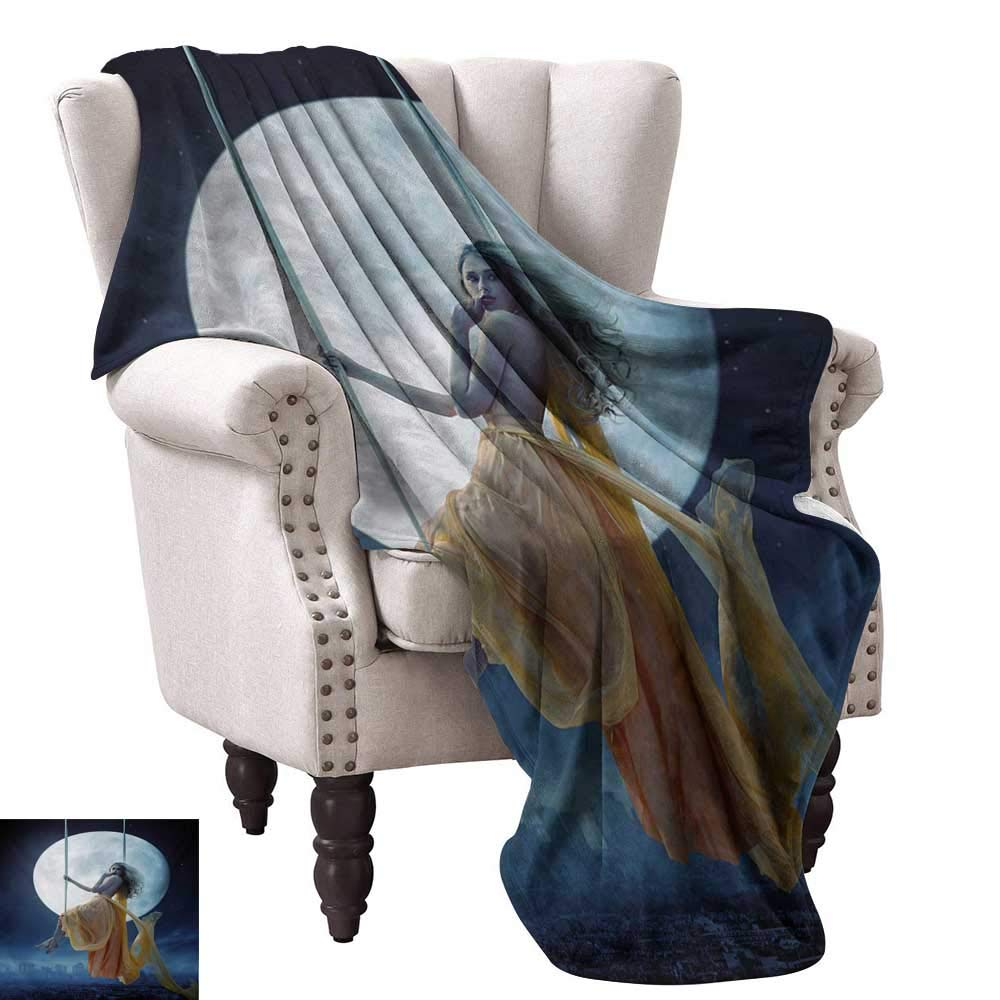 color06 60 Wx60 L WinfreyDecor Moose Living Room Bedroom Warm Blanket American Animals Boat Beaver Friend Canoe River Fun Native Characters Cartoon Bedroom Warm 60  Wx60 L bluee White Brown