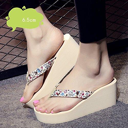 Mujeres Señoras Sandalias 6.5cm zapatos de tacón alto de verano femenino antideslizante zapatos sandalias (negro / beige / azul / marrón) Cómodo ( Color : Beige , Tamaño : 40 ) Beige