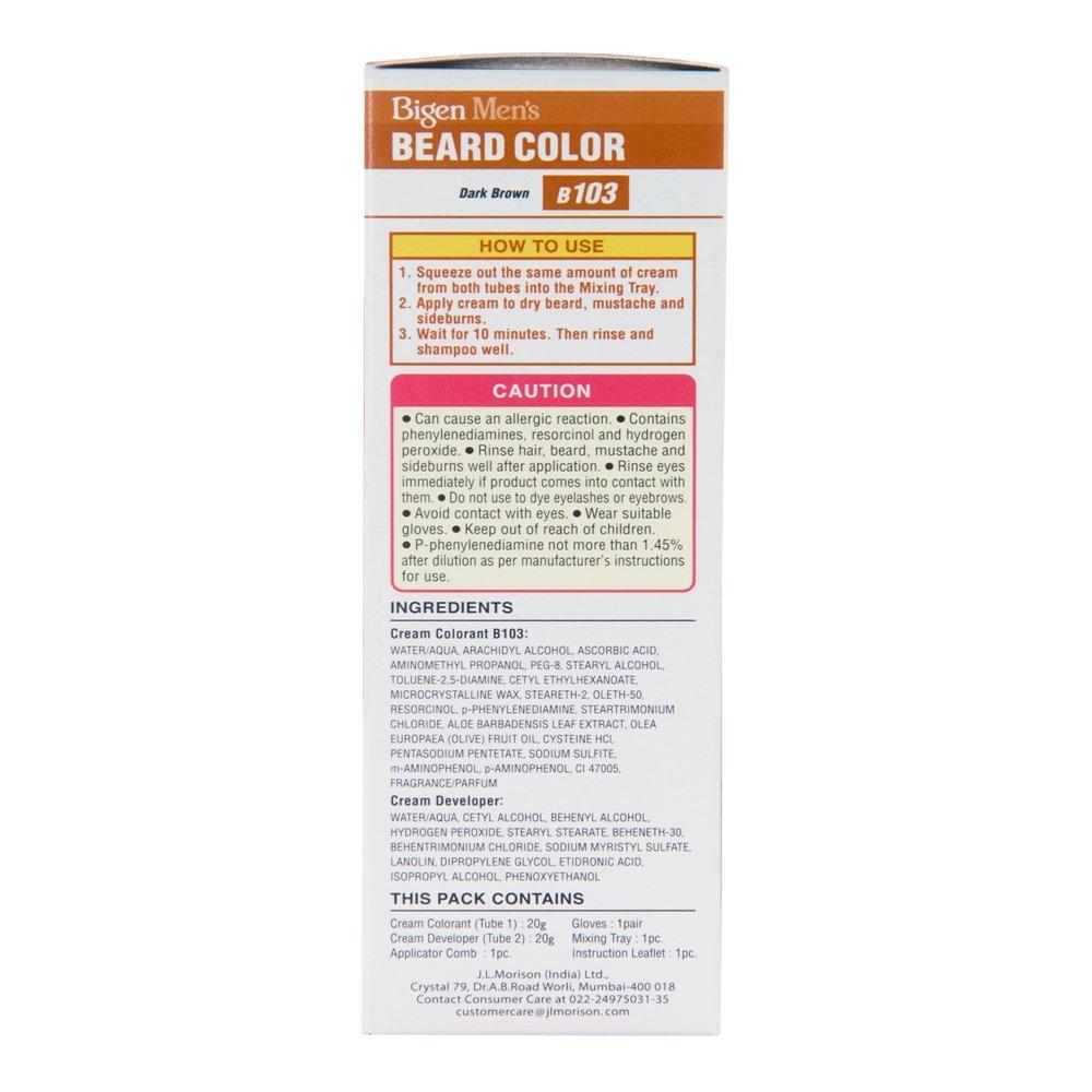 Amazon Bigen Mens Beard Colour Dark Brown 103 Chemical Hair