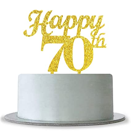 Image Unavailable Not Available For Color Gold Happy 70th Birthday Cake Topper