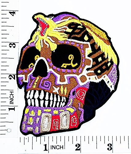 purple Day of the Dead Mexican Sugar Skull with King Cobra patchMotorcyle Bike Novelty patch Symbol Jacket T-shirt Patch Sew Iron on Embroidered Sign Badge (Purple Cobra Costumes)