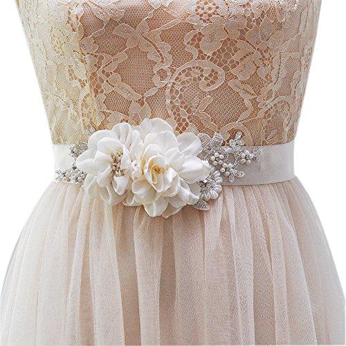 Azaleas Handmade Flower Pearl Beaded Bridal Sash Belts Ivory One Size (Beaded Sash)